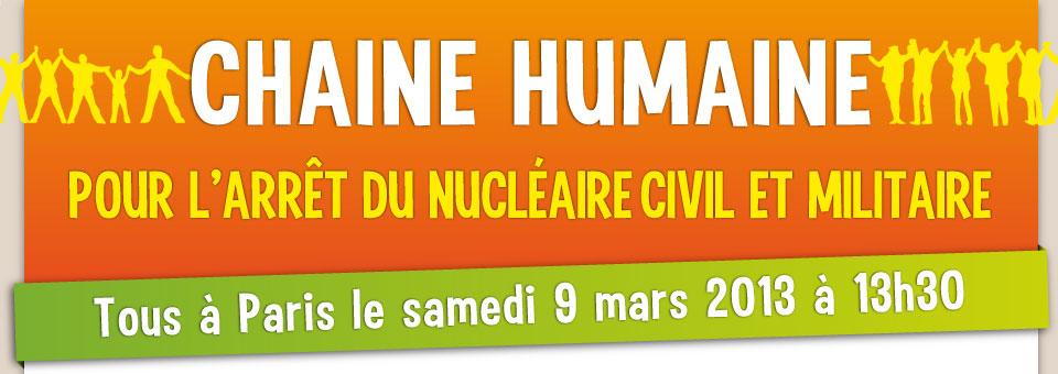 Chaîne humaine pour l'arrêt du nucléaire civil et militaire